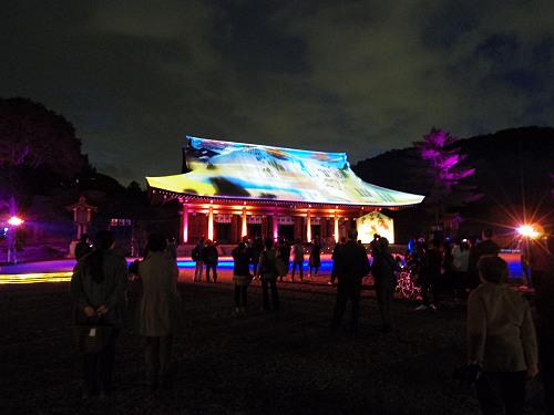 外拝殿に3Dマッピングを投影!『春の神武祭』@橿原神宮