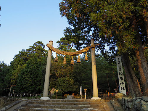 檜原神社と井寺池からの夕陽@桜井市-01