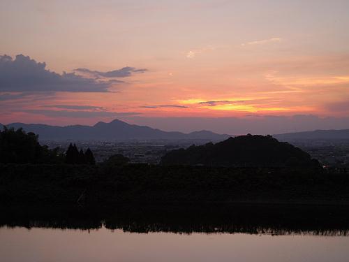 檜原神社と井寺池からの夕陽@桜井市-10