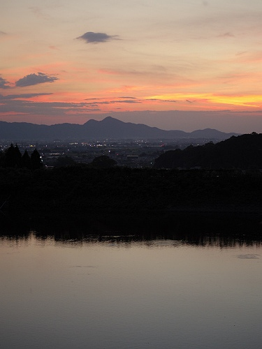 檜原神社と井寺池からの夕陽@桜井市-15