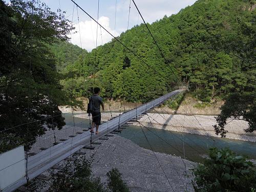 揺れる吊り橋『柳本橋』。足湯に温泉など。@十津川村あれこれ