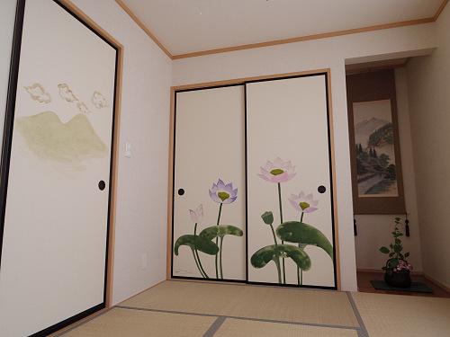イラストレーター上村恭子さん作。我が家の「襖絵」制作記