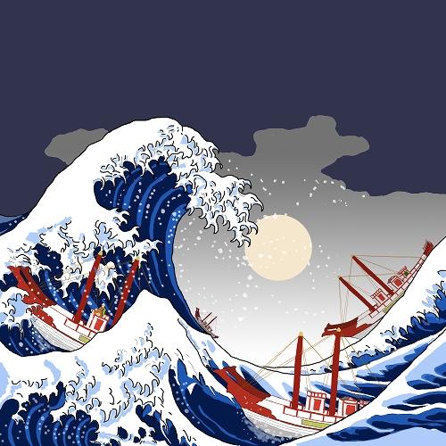 【お絵かき】大波を進む遣唐使船(月夜)(葛飾北斎「富嶽三十六景」神奈川沖浪裏より)