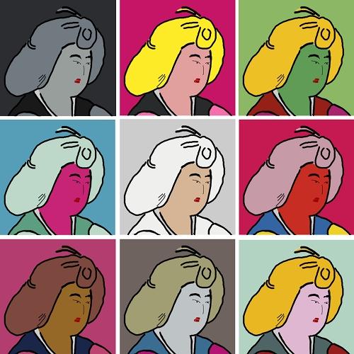 【お絵かき】「鳥毛立女屏風」の女性をウォーホル風に