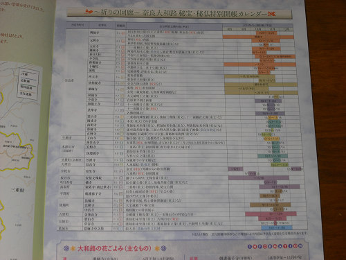 『奈良大和路 秘宝・秘仏特別開帳』パンフレットのカレンダー