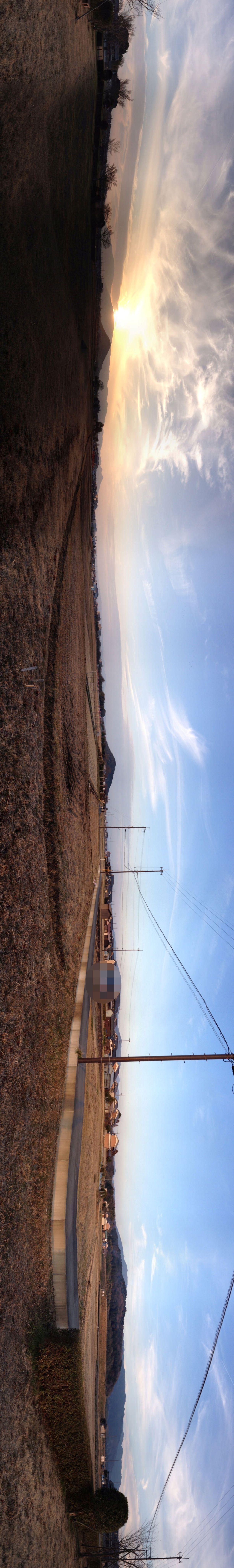 藤原宮跡から眺める大和三山(パノラマ写真)