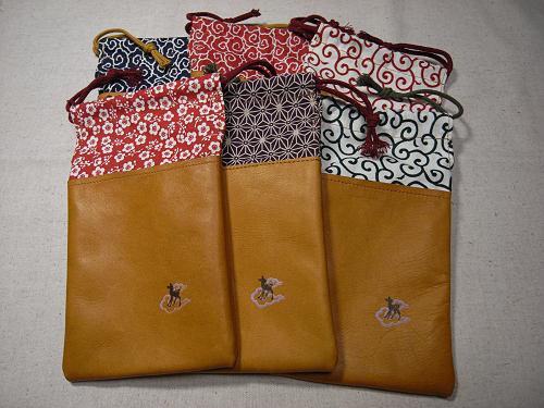 【鹿野堂】革×和の布のコンビ『革と和柄の巾着』